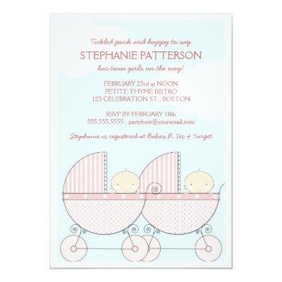 Twin Girl Pink Carriage Happy Baby Shower Invitation