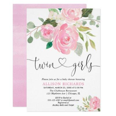 Twin girls baby shower blush pink green floral Invitations