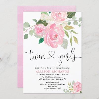 Twin girls baby shower blush pink green floral invitation