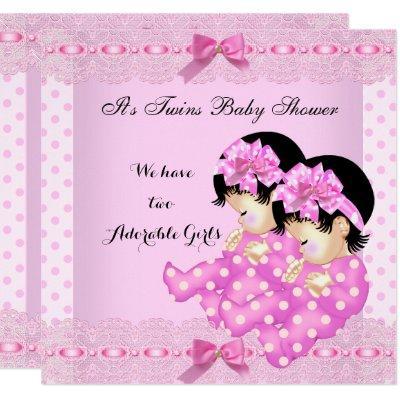 Twin Girls Baby Shower Pink Polka Dots Invitation