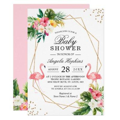 Twin Girls Baby Shower Tropical Floral Flamingos Invitations