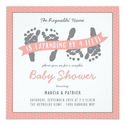 Twin Girls Couples Shower Pink Polka Dots Invitations