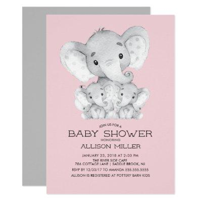 TWIN Girls Elephant baby Shower Invitations