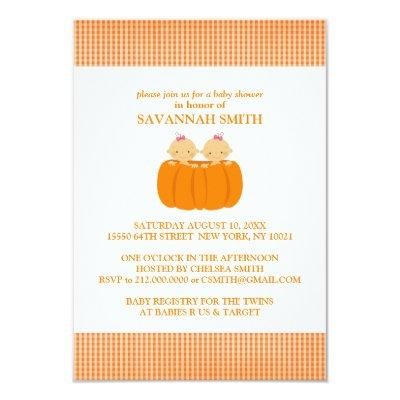 Twin Girls in a Pumpkin Baby Shower Invitations