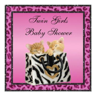 Twin Girls Kittens Pink Leopard Print Baby Shower Invitations