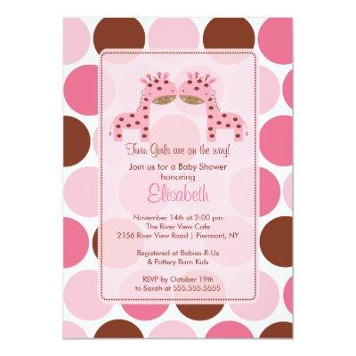 Twin Girls Pink Giraffe Baby Shower Invitation