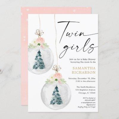 Twin Girls pink gold Winter Christmas baby shower Invitation