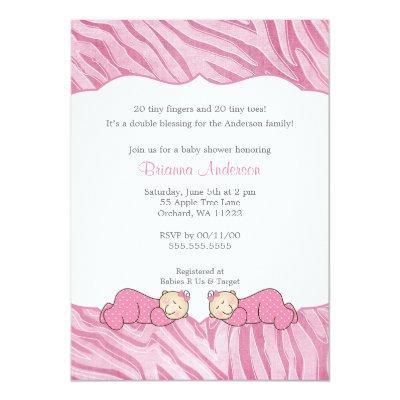 Twin Girls Pink MODERN Zebra Baby Shower Invite
