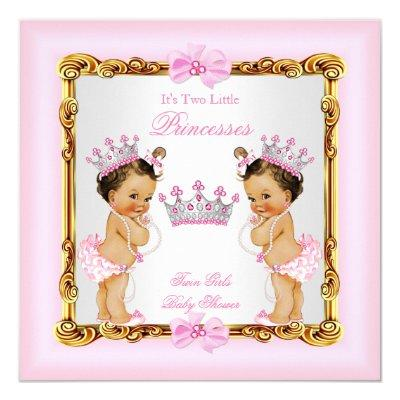 Twin Girls Princess Baby Shower Gold Pink Brunette Invitations