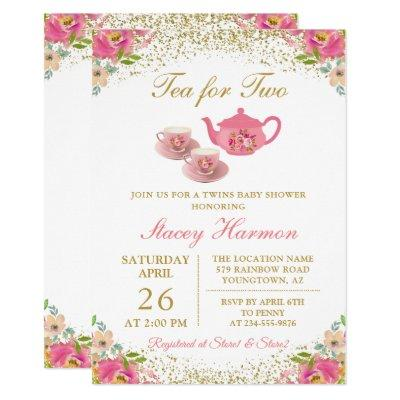 Twin Girls Tea Party Pink Gold Floral Baby Shower Invitation