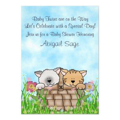 Twin Kittens and Flowers Baby Shower Invitations