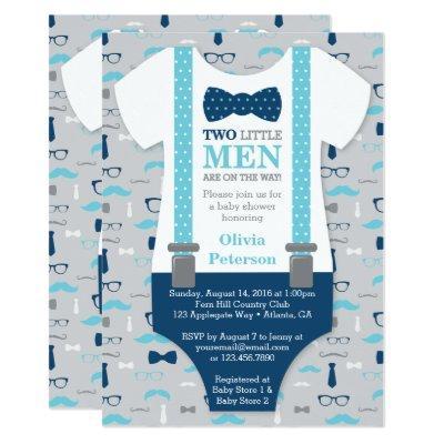 Twin Little Men , Blue, Gray Invitations