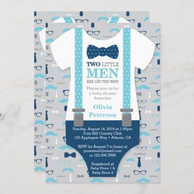 Twin Little Men Baby Shower Invitation, Blue, Gray Invitation