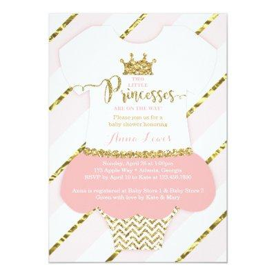 Twin Little Princesses Shower Invite, Faux Glitter Invitations