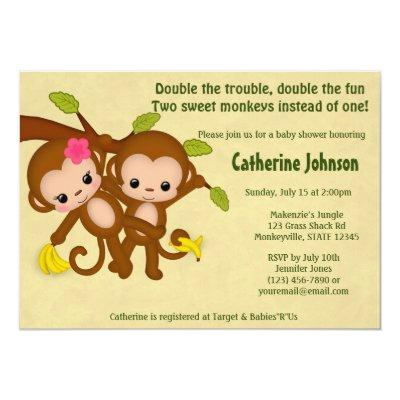 TWIN Monkeys Invitations BOY GIRL