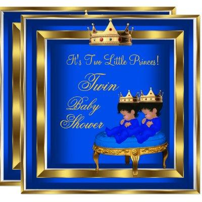 Twin Prince Baby Shower Royal Blue Gold Boy Crown Invitations