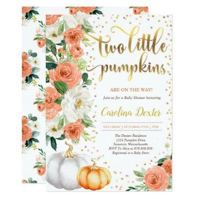 Twin Pumpkin Baby Shower Invitation Orange & Gold