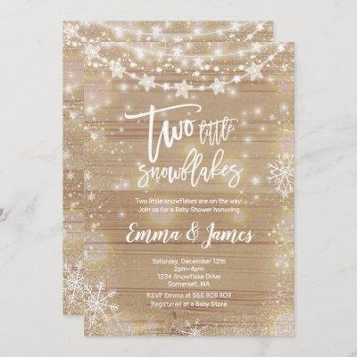 Twin Winter Baby Shower Invitation Rustic White