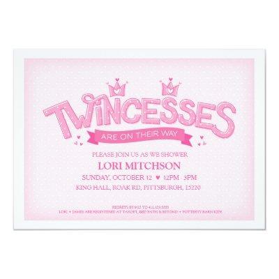 Twincess Twin Girls Invitations (Pink)