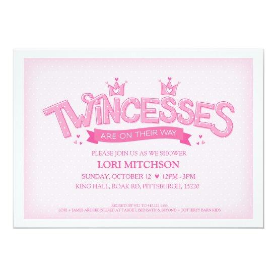 Twincess Twin Girls Baby Shower Invitations (Pink)