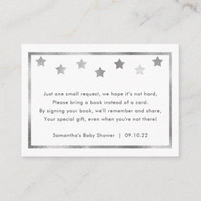 Twinkle Baby Shower book request, silver stars Enclosure Invitations