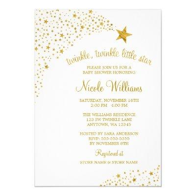 Twinkle Little Shooting Star Faux Gold Baby Shower Invitations