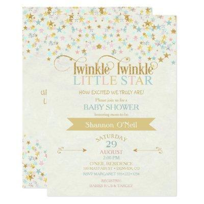 Twinkle Little Star Baby Shower Gold Aqua Invitations