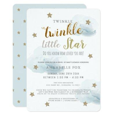Twinkle Little Star Blue Boy Drive-by Baby Shower Invitation