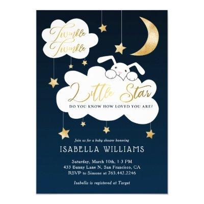 Twinkle Little Star Bunny Navy Baby Shower Invitation