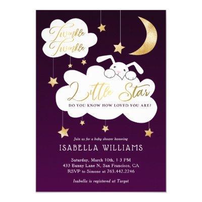 Twinkle Little Star Bunny Purple Baby Shower Invitation