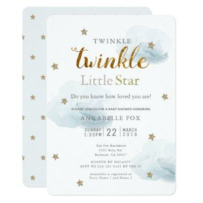 Twinkle Little Star & Cloud Baby Shower Invitations