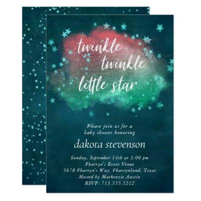 Twinkle Little Star | Coral Mint Teal Baby Shower Invitation
