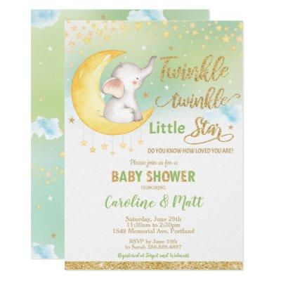 Twinkle Little Star Elephant Baby Shower Neutral Invitation