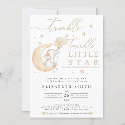 Twinkle Little Star Elephant Yellow Baby Shower Invitation