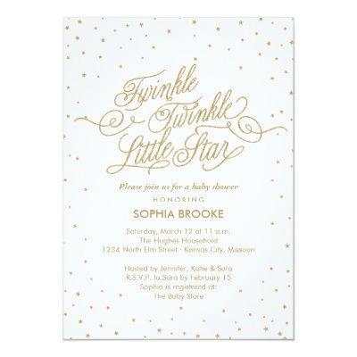 Twinkle Little Star Fancy Gold & White Baby Shower Invitations