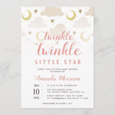twinkle little star girl baby shower invitation
