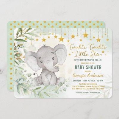 Twinkle Little Star Greenery Elephant Baby Shower Invitation