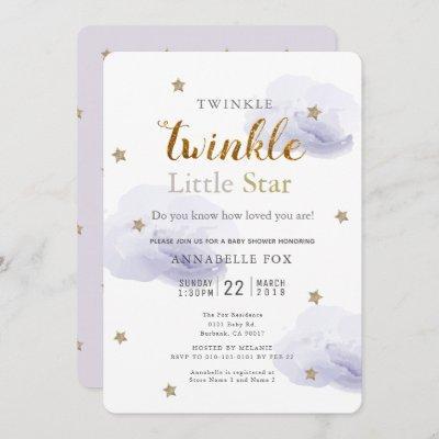 Twinkle Little Star Lavender Baby Shower Invitation