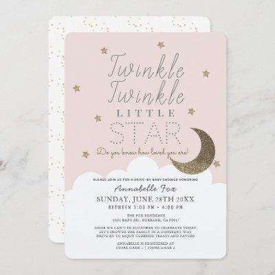 Twinkle Little Star Pink Drive-by Baby Shower Invitation