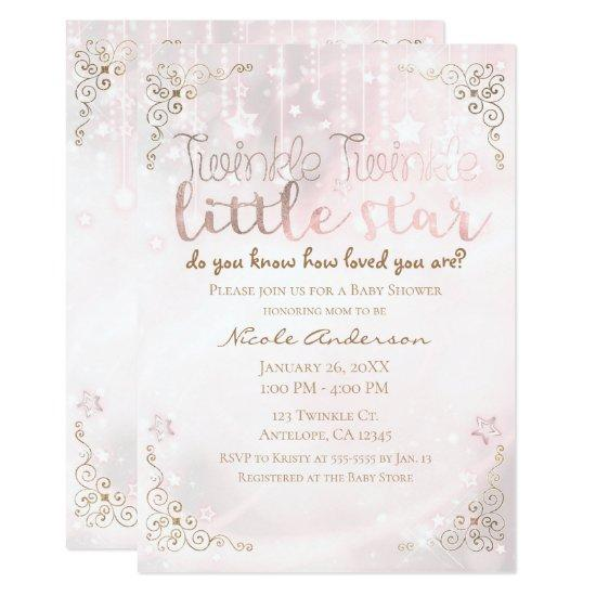 Twinkle Little Star Pink Gold Sparkle Baby Shower Card Baby Shower