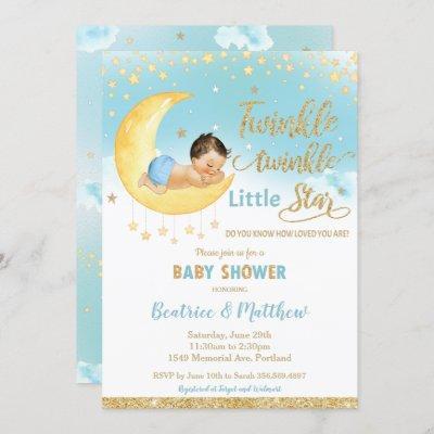 Twinkle Little Star Sleeping Baby Shower Boy Invitation
