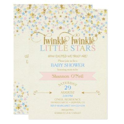 Twinkle Little Star Twins Baby Shower Pink & Blue Invitations
