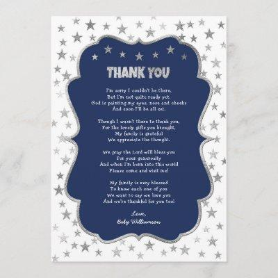 Twinkle silver stars navy boy thank you note invitation
