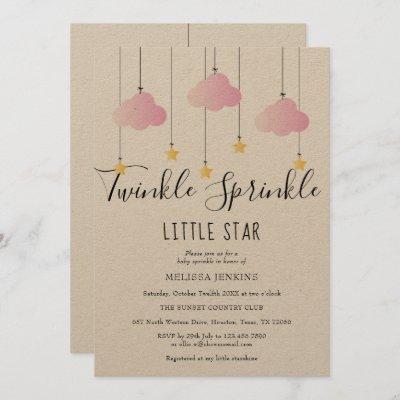 Twinkle Sprinkle Baby Shower Pink Rustic Boho Invitation