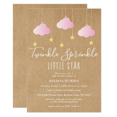 Twinkle Sprinkle Baby Shower Pink Rustic Kraft Invitation