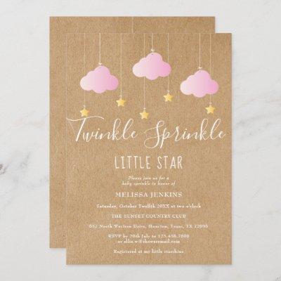 Twinkle Sprinkle Baby Shower Pink Rustic Kraft Invitation