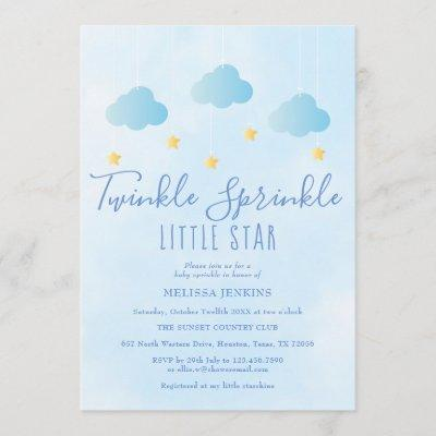Twinkle Sprinkle Little Star Boy Blue Baby Shower Invitation
