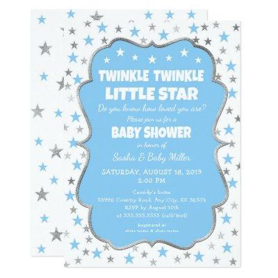 Twinkle Star Baby Shower blue silver invitations