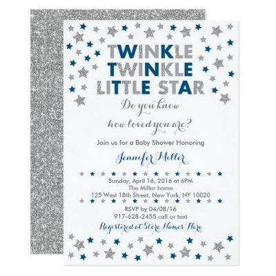 Twinkle Star Baby Shower Navy & Silver Invitation