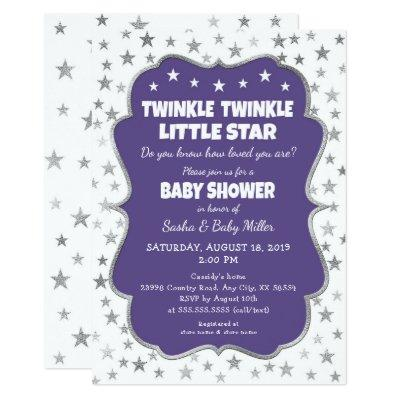 Twinkle Star Baby Shower ultra violet invitations